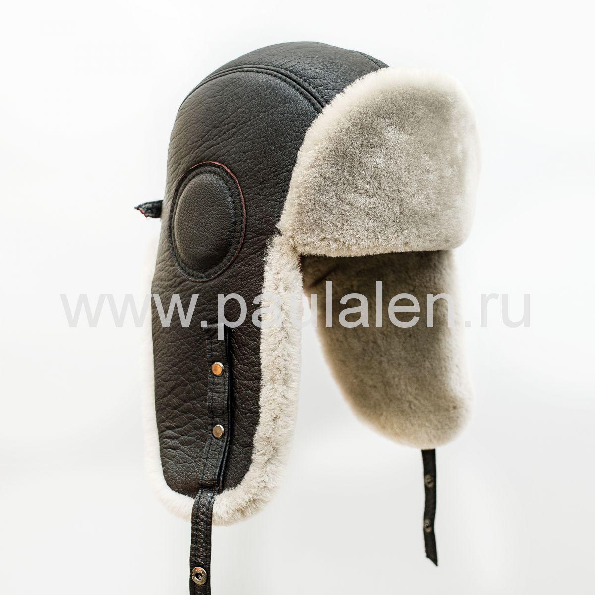 Шлем Авиатор мужской, из натуральной кожи и овчины B032