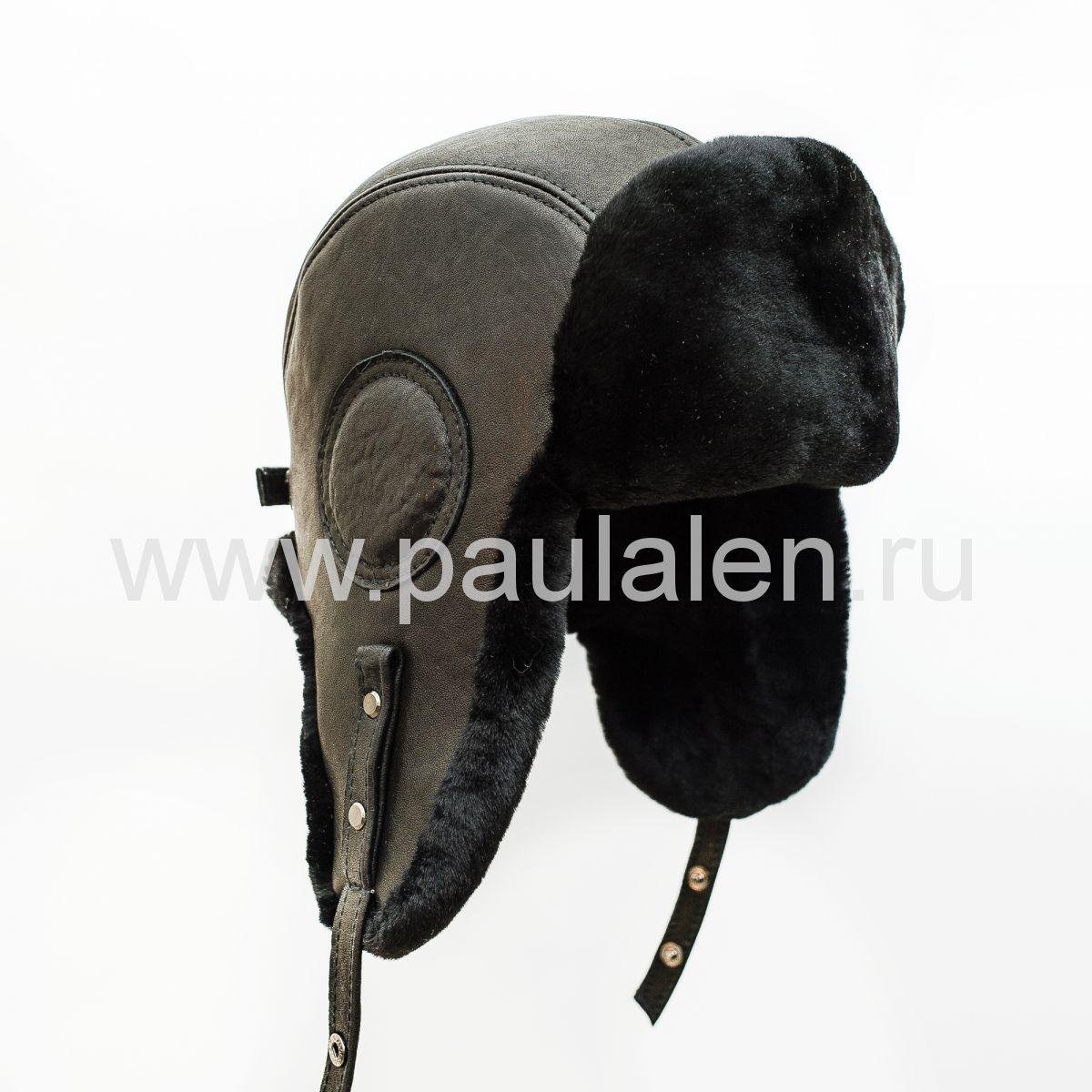 Шлем Авиатор мужской, из натуральной кожи и овчины B035