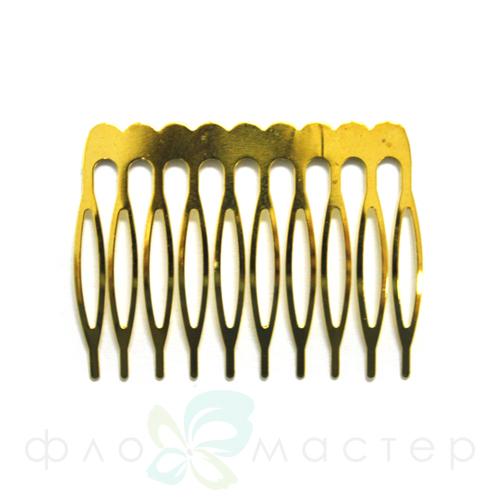 Основа для гребня металлическая (желтый металл) 4*5см