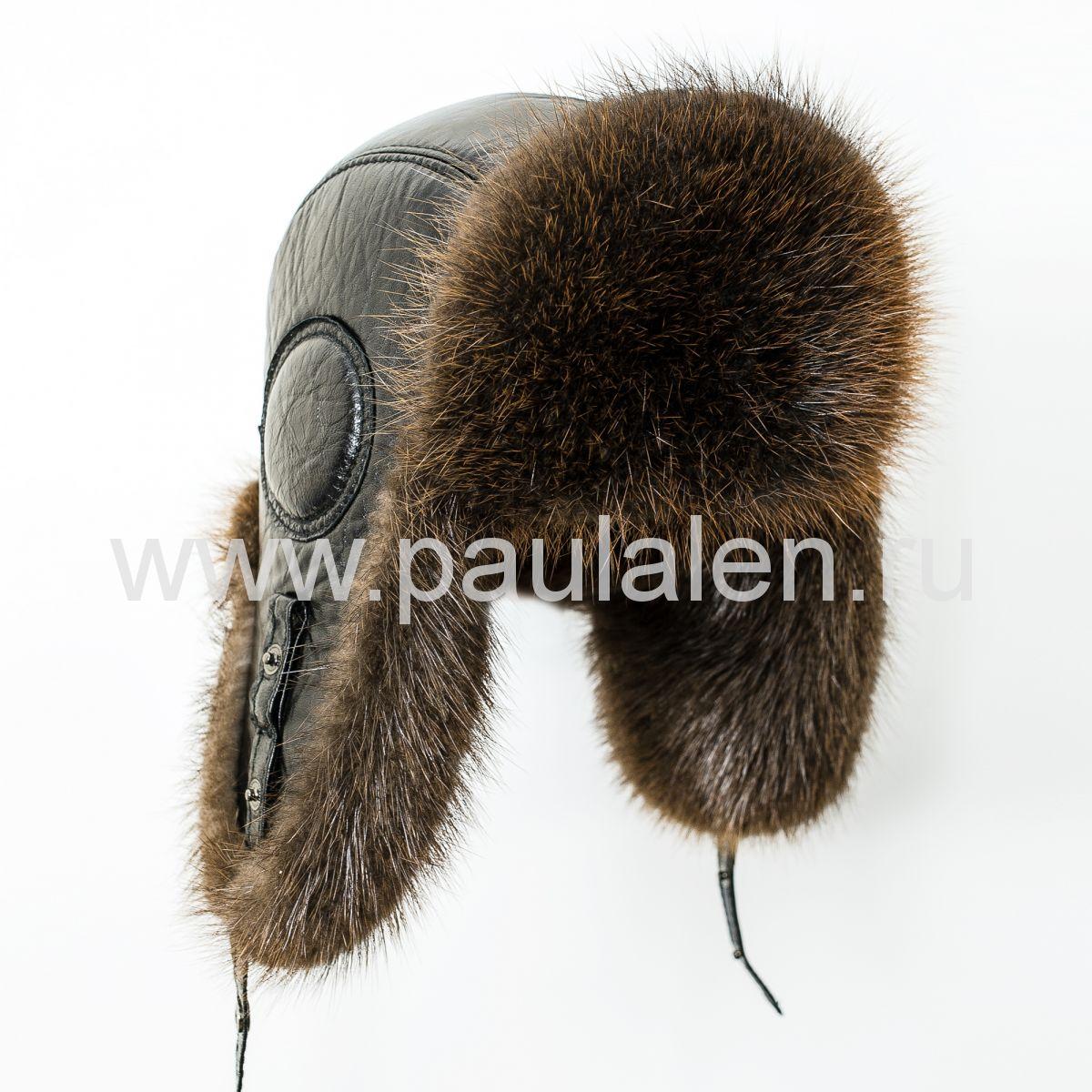 Мужская шапка ушанка из меха бобра B011