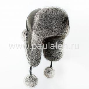 Женская шапка ушанка из меха кролика. A006