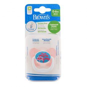 Dr.Brown's Пустышка PreVent БАБОЧКА, 0-6 месяцев, с крышкой, для девочек. (арт. PV11304)