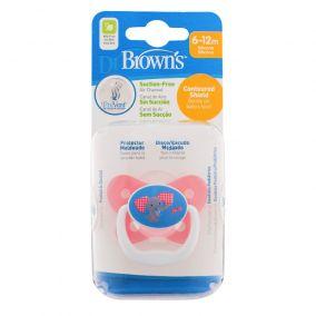 Dr.Brown's Пустышка PreVent БАБОЧКА, 6-12 месяцев, с крышкой, для девочек. (арт. PV21304)