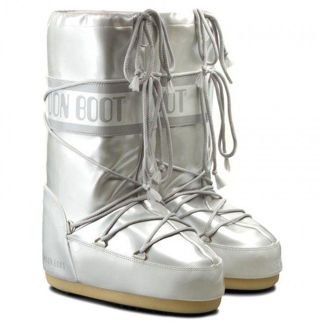 Moon Boot Vinyl Met White Kids (лак, бело-серебристые) / 27-30.
