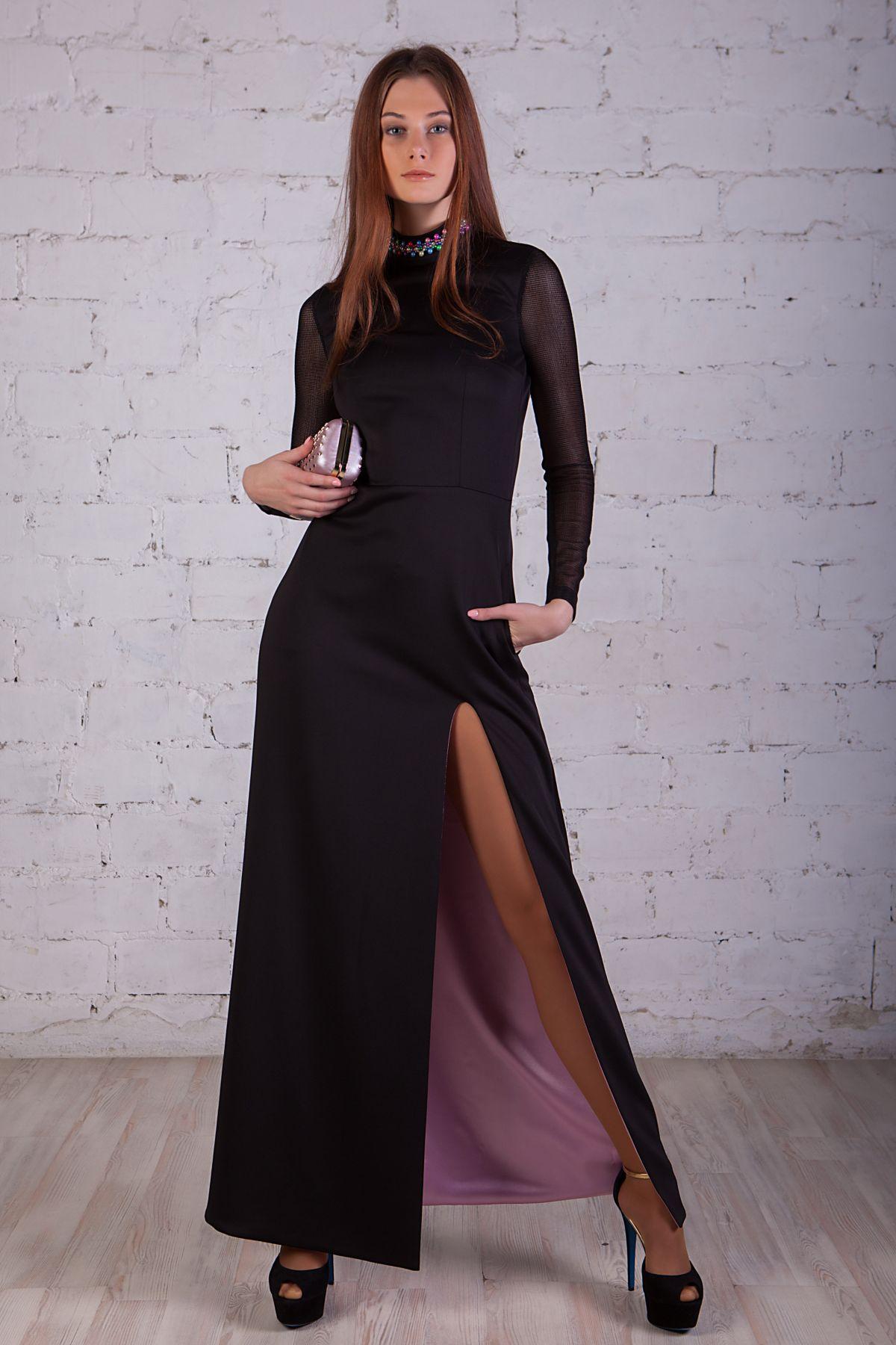 Купить черное длинное вечернее платье с открытой спиной и разрезом ... c7e0456f42f