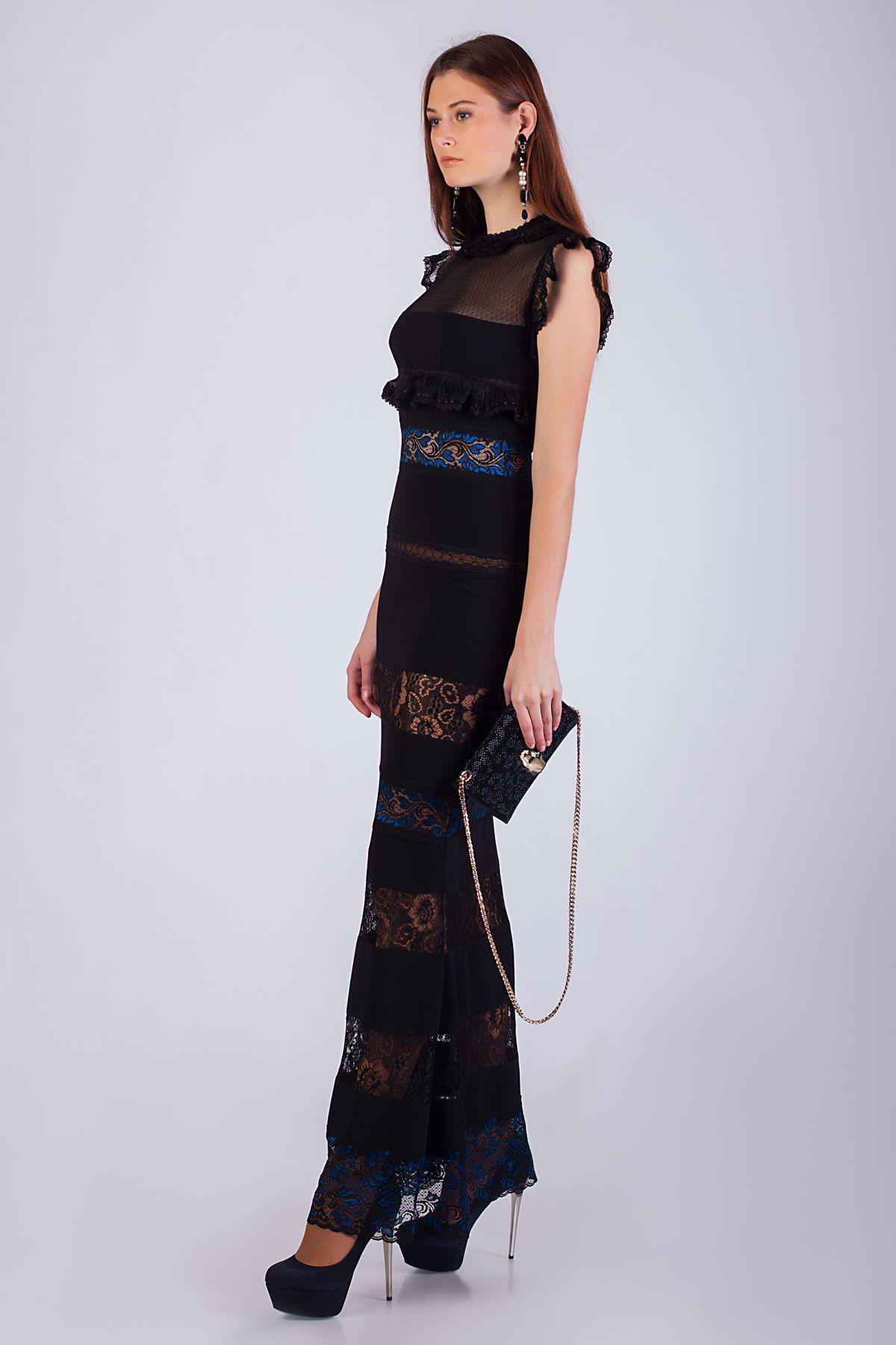 Купить черное платье в пол с кружевом Roman Rush   Шикарное ... 50f243b4c4b