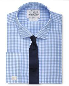 Мужская рубашка под запонки в светло-синюю клетку T.M.Lewin не мнущаяся Non Iron приталенная Slim Fit (53794)