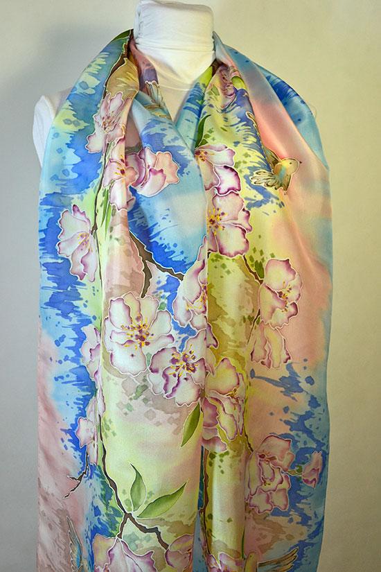 Шарф Синички в цветах