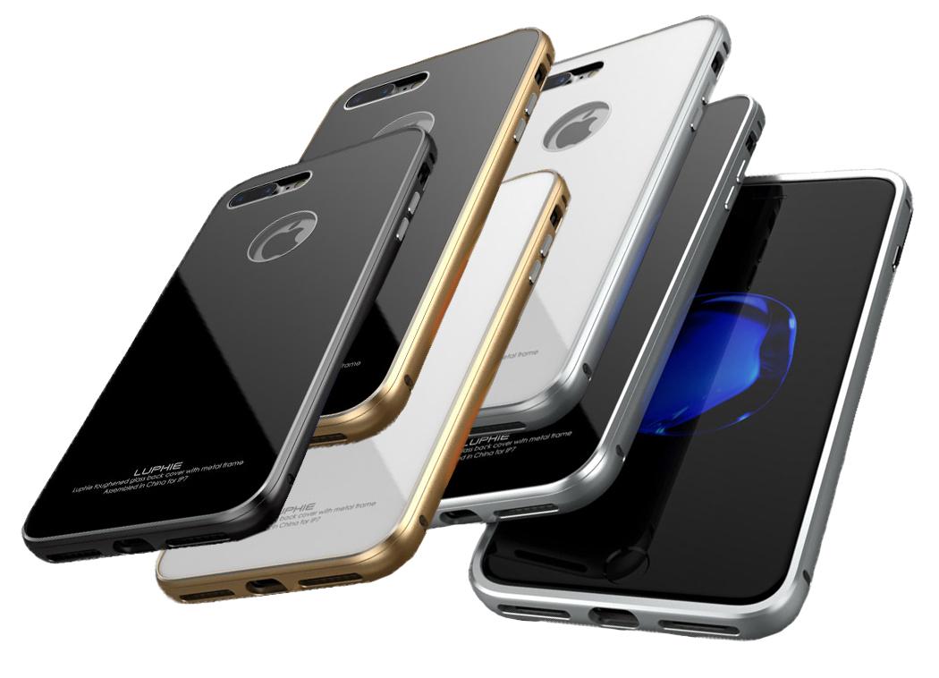 Металлический чехол-накладка LUPHIE для iPhone7 и iPhone8 CIRCLE ARC TOUGHENED GLASS BACK