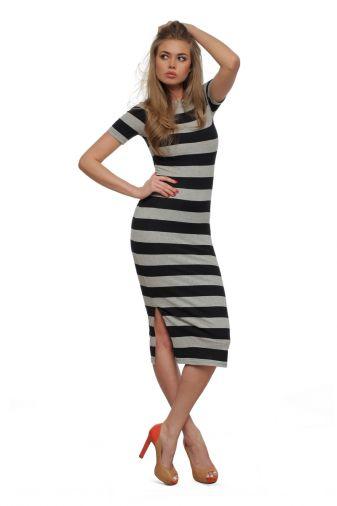 Платье 29949 Черно-серая полоска
