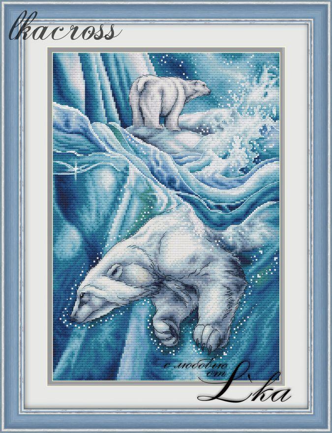 """""""Белые медведи"""". Схема/набор для вышивания крестиком."""