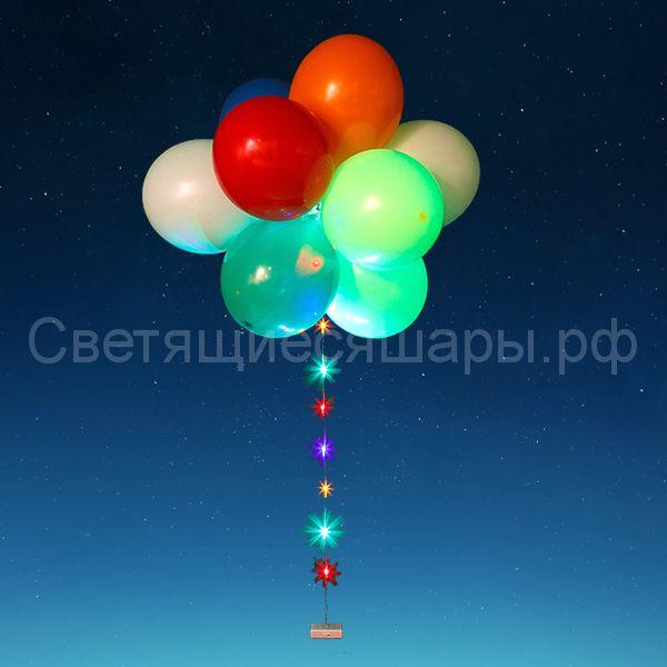 Букет из светящихся шаров со светодиодной лентой