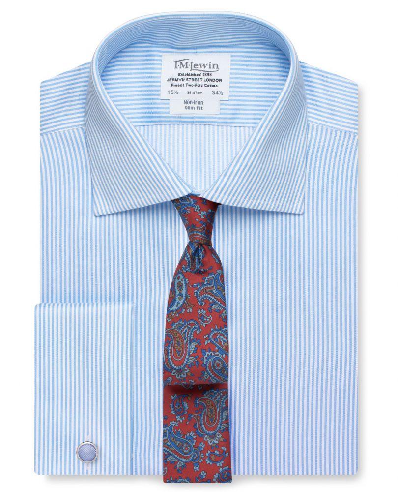 800031208fb английская Мужская рубашка из Англии Великобритании под запонки Москва в  светло-синюю полоску T.M.Lewin