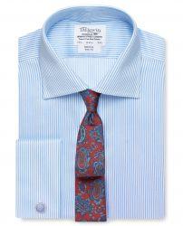 Мужская рубашка под запонки в светло-синюю полоску  T.M.Lewin не мнущаяся Non Iron приталенная Slim Fit (53789)