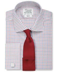 Мужская рубашка под запонки в красно-синюю клетку  T.M.Lewin не мнущаяся Non Iron приталенная Slim Fit (53798)