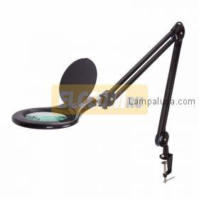 Лупа на струбцине круглая настольная 5Х с подсветкой 90 LED, черная REXANT