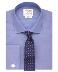 Мужская рубашка под запонки синяя T.M.Lewin не мнущаяся Non Iron приталенная Slim Fit (53780)