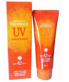 Deoproce Premium UV Sun Block Cream SPF 42 PA++ 100g- солнцезащитный крем для кожи лица и тела