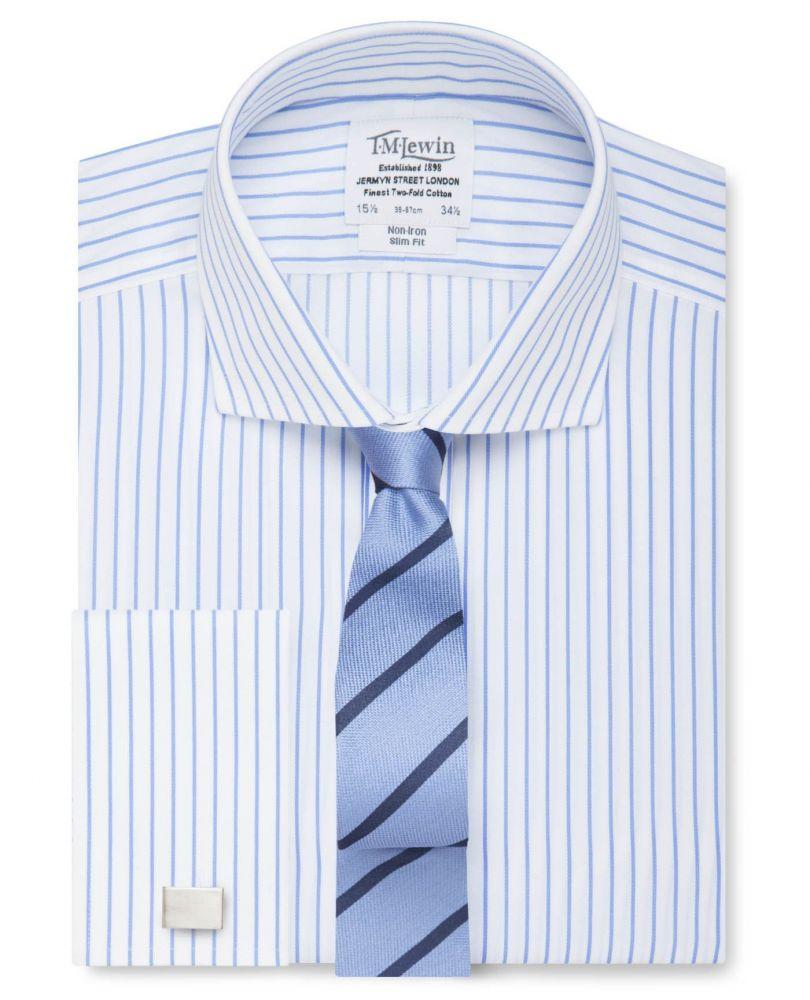 898d937b850 английская Мужская рубашка из Англии Великобритании под запонки широкий  воротник Москва белая в синюю полоску T.M.
