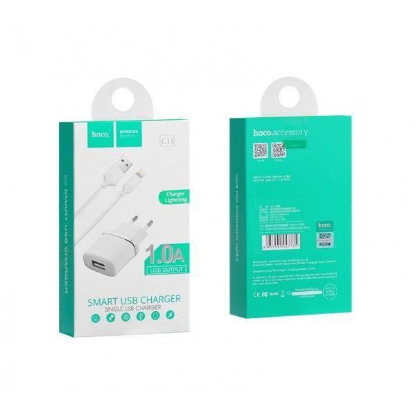 Зарядное устройство Hoco Charger 1USB + Lightning Cable