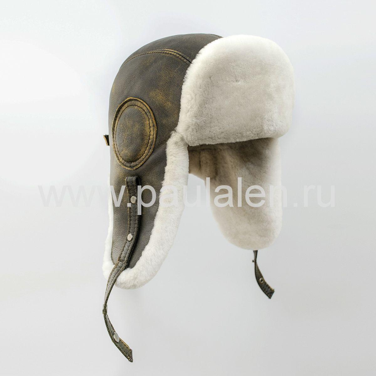"Мужская шапка ушанка ""Авиатор"" из кожи и меха овчины. Артикул B053"
