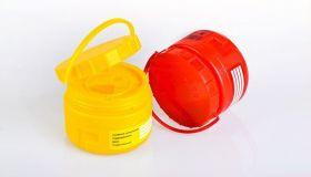 Емкость-контейнер одноразовый для острых медицинских отходов с иглосъемником класса Б– «ОЛДАНС», объемом 0,5л.,