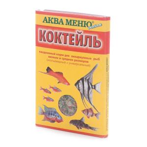 Корм Аква Меню Коктейль 15гр для аквариумных рыб мелких и средних размеров