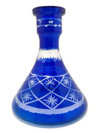 Колба для кальяна Ager средняя пирамида нарезная синяя