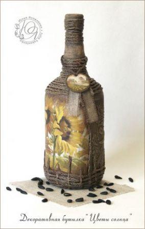 """Декоративная бутылка """"Цветы солнца"""""""