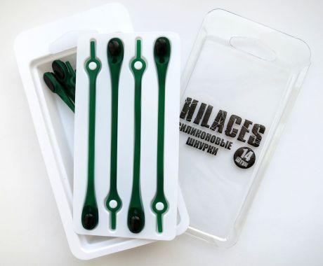 Силиконовые шнурки Зеленый/Черный