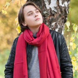 Малиновый палантин из шерсти с кашемиром (Москва)