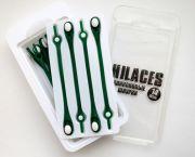 Cиликоновые шнурки для обуви Hilaces цвет Зеленый/Белый в раскрытой упаковке