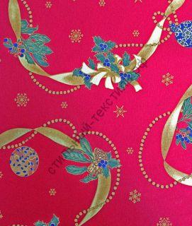 Новогодняя декоративная ткань  LAZOS rojo