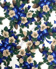 Новогодняя декоративная ткань NADAL azul
