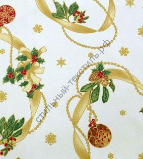 Новогодняя декоративная ткань  LAZOS beige