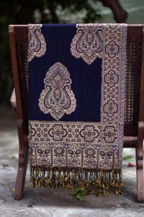 Тёмно-синий хлопковый палантин (под заказ)