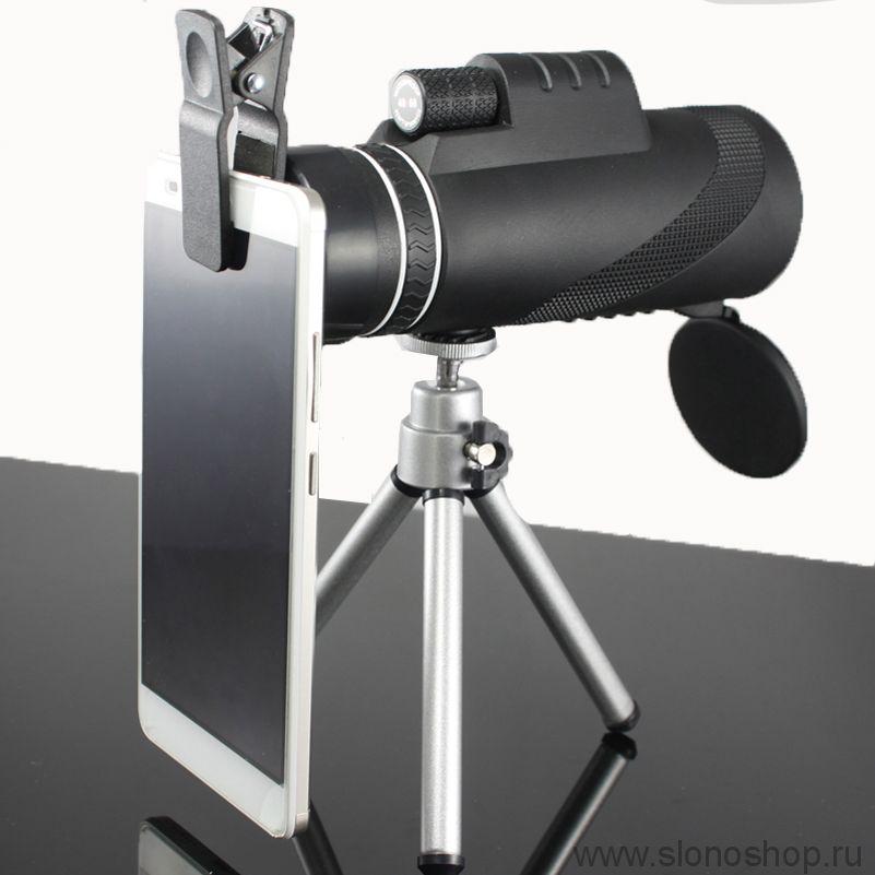 Монокуляр maifeng 40х60 с подставкой и переходником для смартфона
