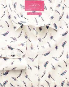 Женская рубашка белая с цветным узором Charles Tyrwhitt не мнущаяся Non Iron приталенная Fitted (WWS0331UGN)