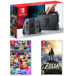 Игровая приставка Nintendo Switch (Grey) + Mario Kart 8 + The Legend of Zelda