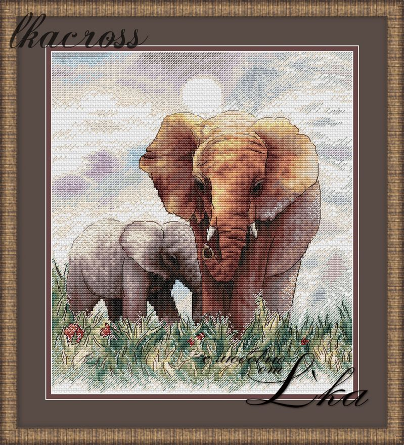 """Elephants"". Digital cross stitch pattern."