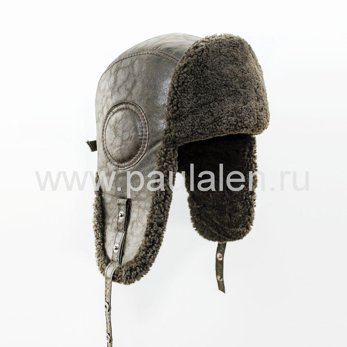 "Мужская шапка ушанка ""Авиатор"" из кожи и меха овчины. Артикул B054"