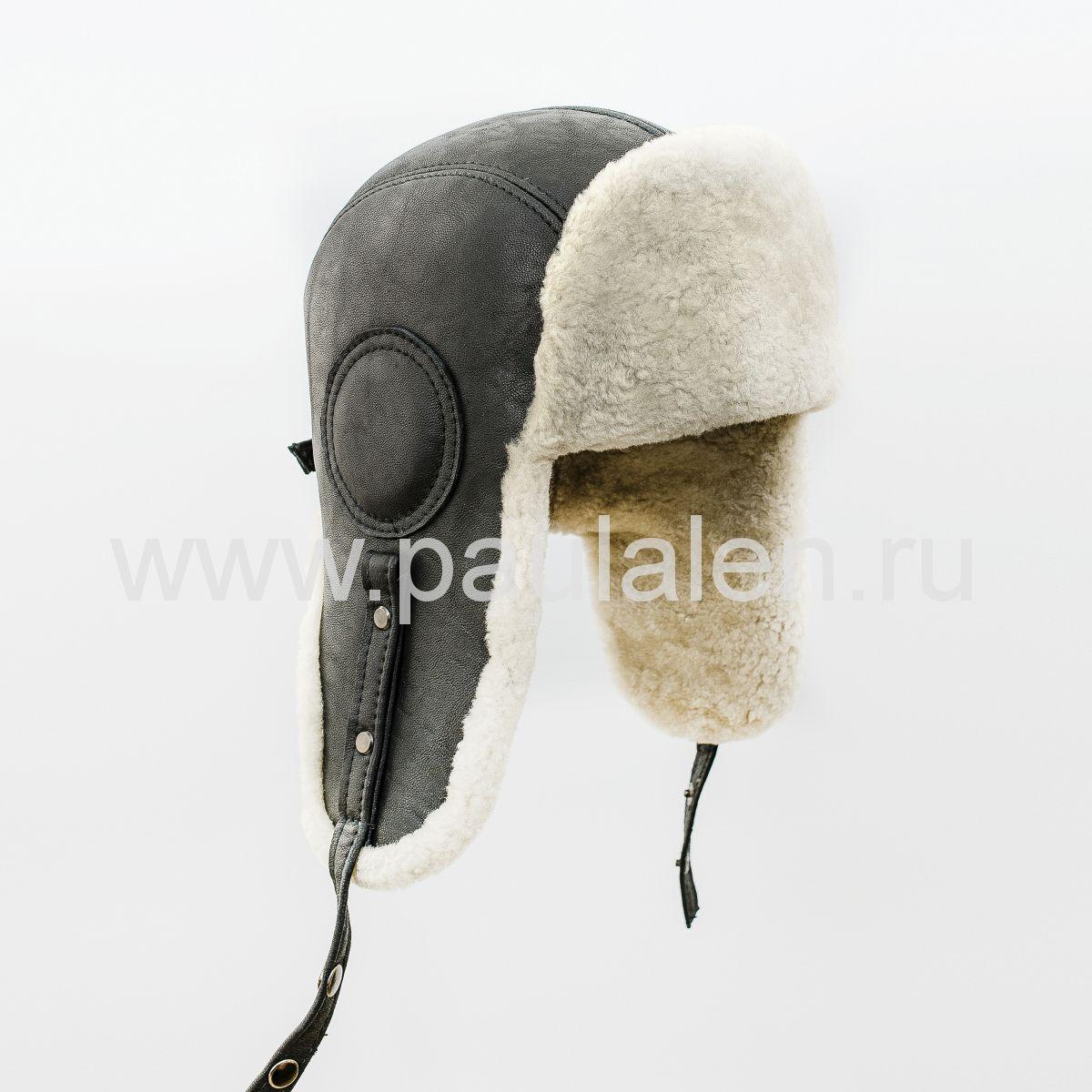 "Мужская шапка ушанка ""Авиатор"" из кожи и меха овчины. Артикул B055"