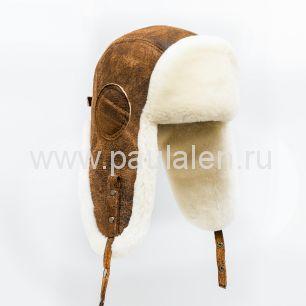 "Мужская шапка ушанка ""Авиатор"" из кожи и меха овчины. Артикул B056"