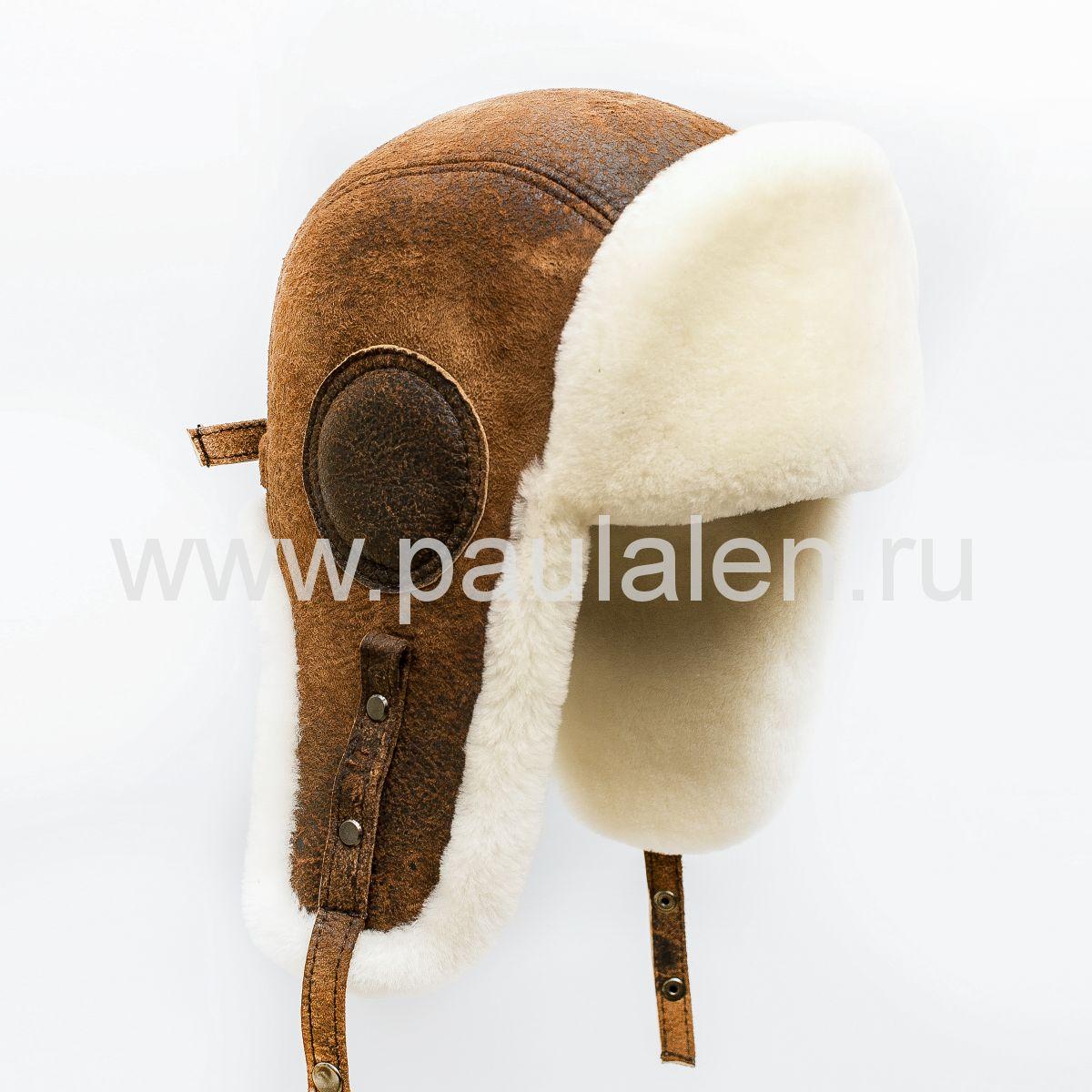"Мужская шапка ушанка ""Авиатор"" из кожи и меха овчины. Артикул B057"