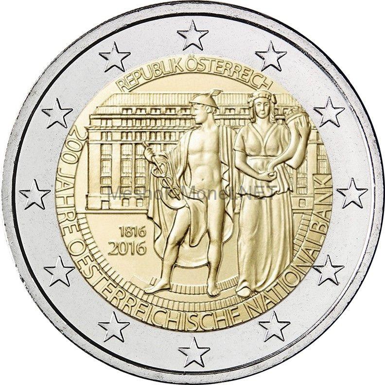 Австрия 2 евро 2016 200 лет Национальному Банку Австрии