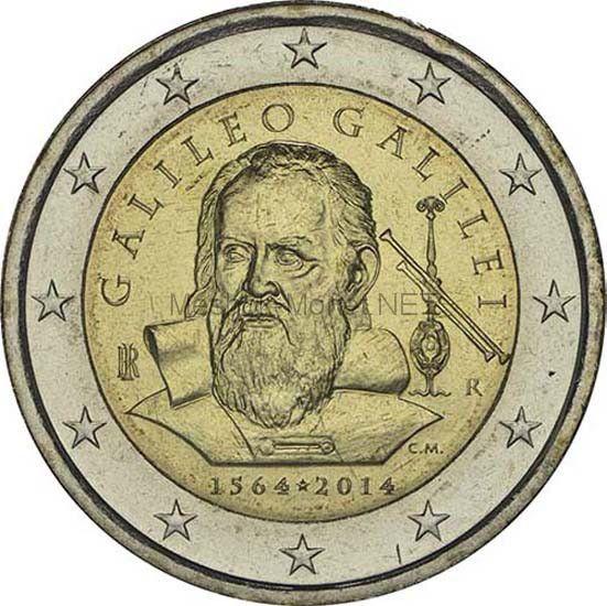 Италия 2 евро 2014, 450 лет со дня рождения Галилео Галилея