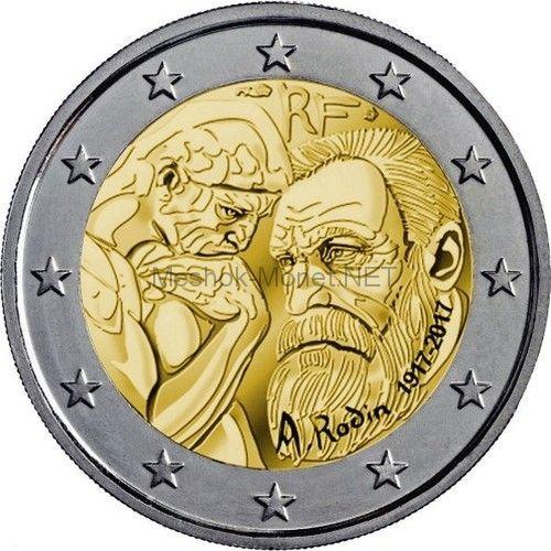 Франция 2 евро 2017 100 лет со дня смерти Огюста Родена