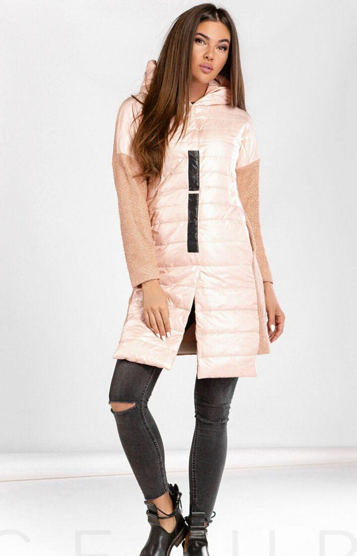 Комбинированное пальто букле