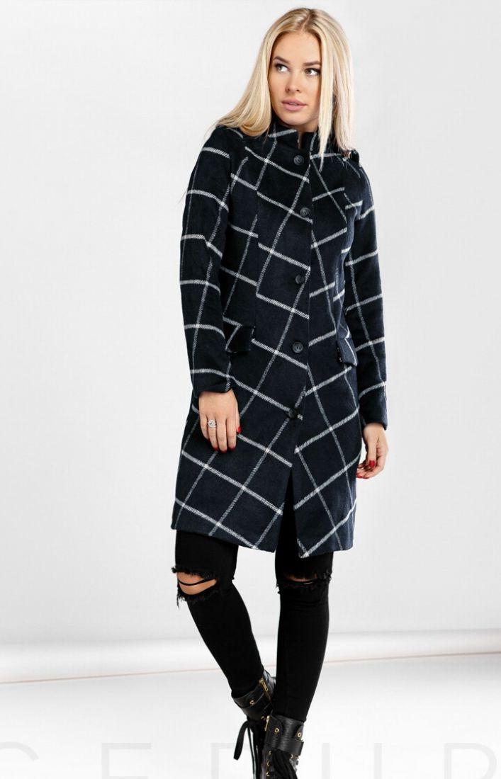 Шерстяное пальто клетка