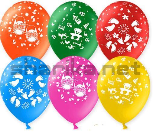 Облако воздушных шаров (12''/30 см) Новорожденный, Ассорти, пастель